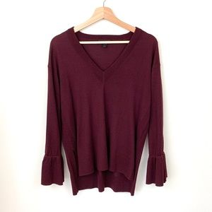 J. Crew Dark Lurple Bell Tie Sleeve Vneck Sweater